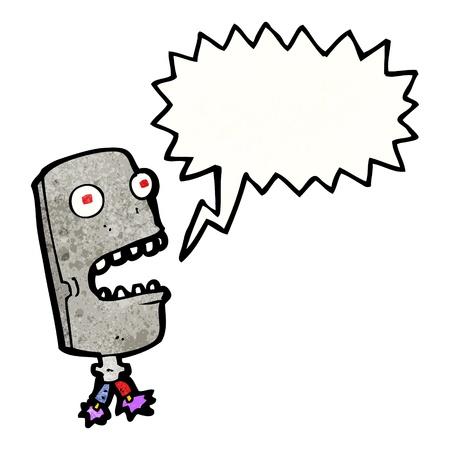 talking robot: De dibujos animados retro con textura. Aislado en blanco.