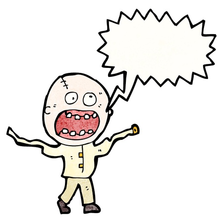 madman: De dibujos animados retro con textura. Aislado en blanco.