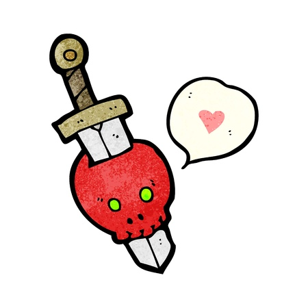 sword and heart: Retro cartoon with texture. Isolated on White.