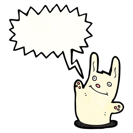 rabbit hole: Retro cartoon with texture. Isolated on White.