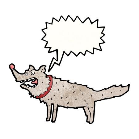 barking: Retro cartoon con texture. Isolato su bianco.