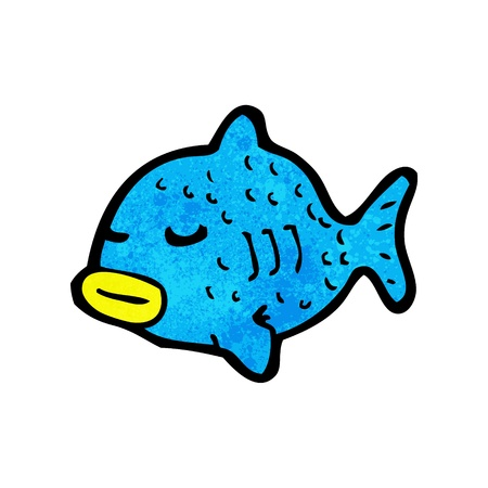 fish clipart: Retro cartoon with texture. Isolated on White.