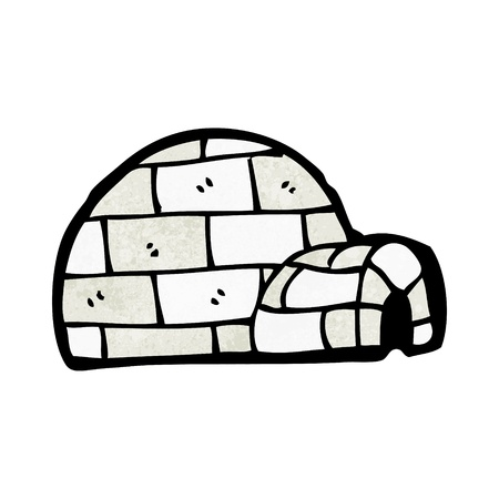 igloo: Retro cartoon with texture. Isolated on White.