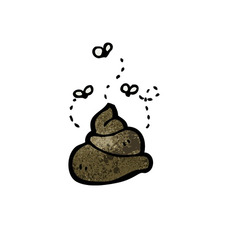 poo: Retro cartoon with texture. Isolated on White.