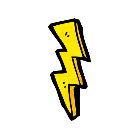 lightning bolt: Retro cartoon with texture. Isolated on White.