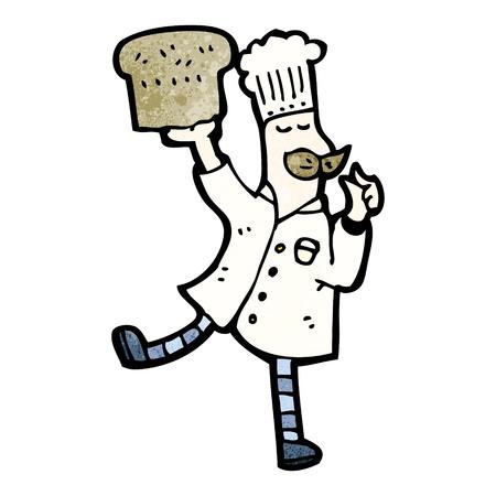 baker cartoon: Retro cartoon with texture. Isolated on White.