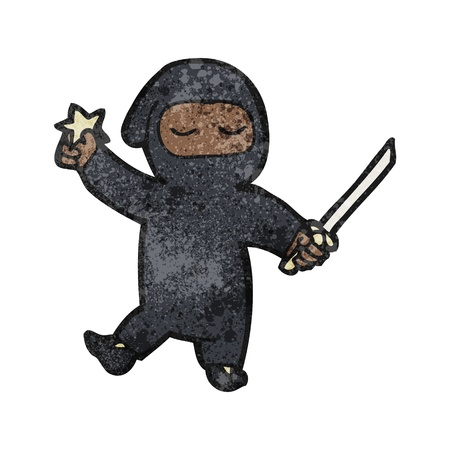 assassin: Retro cartoon with texture. Isolated on White.