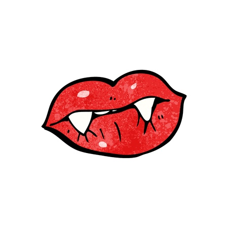 pout: Retro cartoon with texture. Isolated on White.