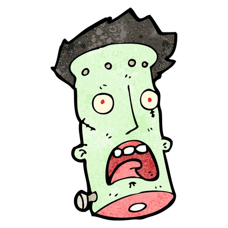 clipart frankenstein: Retro cartoon with texture. Isolated on White.