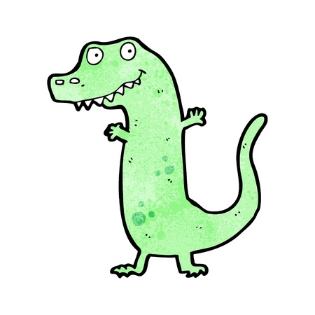 dinosaurio caricatura: De dibujos animados retro con textura. Aislado en blanco.