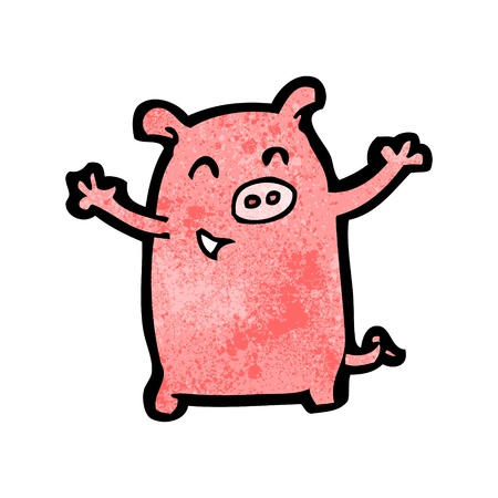 cartoon pig: Retro cartoon with texture. Isolated on White.