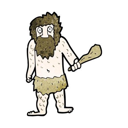 edad de piedra: De dibujos animados retro con textura. Aislado en blanco.