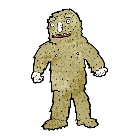 big foot: Retro cartoon with texture. Isolated on White.