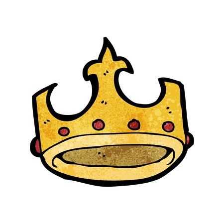 crown cartoon: Retro cartoon with texture. Isolated on White.