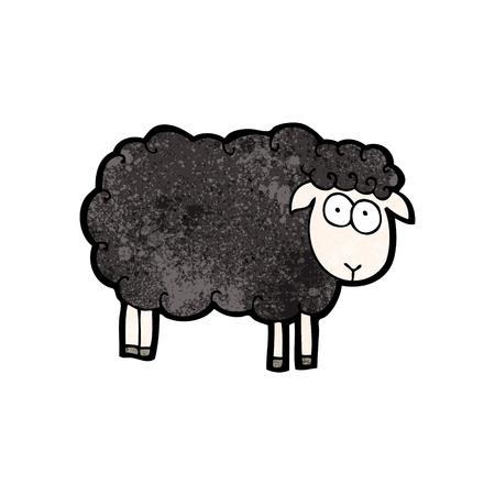 zwart schaap: Retro cartoon met textuur. Geïsoleerd op wit.