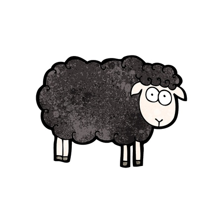 black sheep: Retro cartoon with texture. Isolated on White.