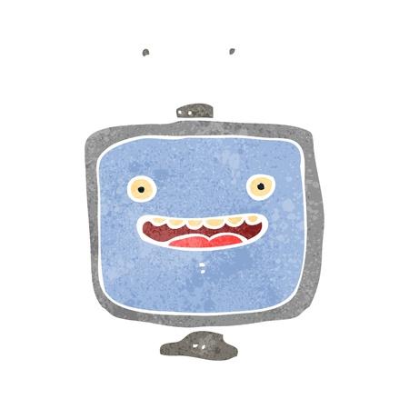 cartoons television: Retro cartoon illustration. On plain white background.