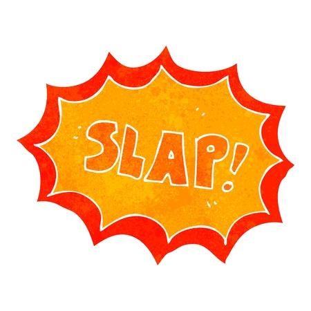 slap: Retro cartoon illustration. On plain white background.