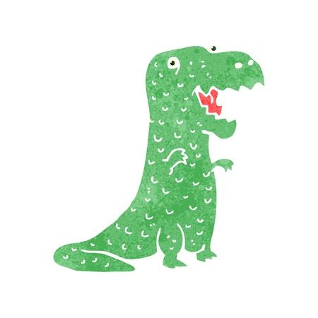tyranosaurus: Retro cartoon illustration. On plain white background.