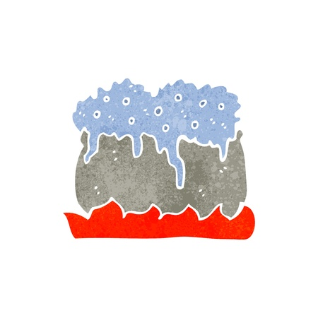 bubbling: Retro cartoon illustration. On plain white background.