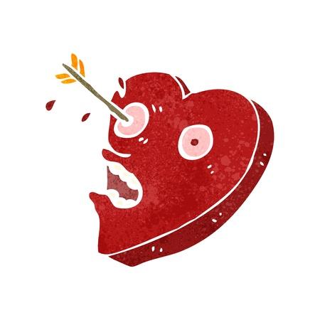 love hurts: Retro cartoon illustration. On plain white background.