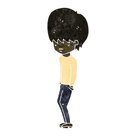 jaded: Retro cartoon illustration. On plain white background.