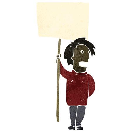 demonstrator: Retro cartoon illustration. On plain white background.