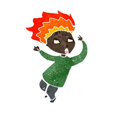 crazy hair: retro cartoon boy with hair on fire
