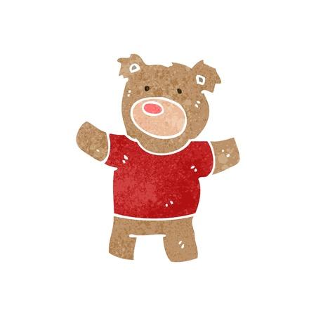 retro cartoon teddybeer Stock Illustratie