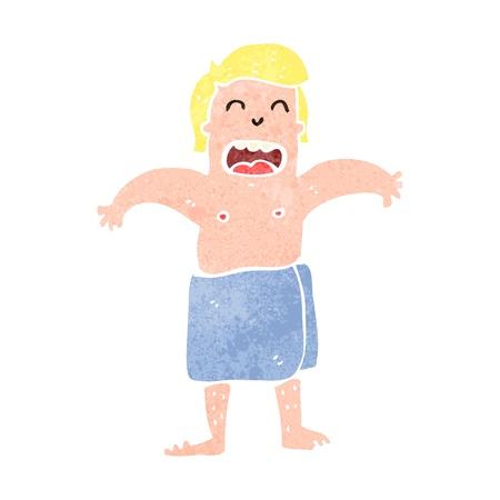 gym room: hombre retro de dibujos animados en una toalla