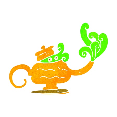 retro cartoon magic lamp Vector