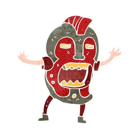 maschera tribale: Retro cartoon uomo in maschera tribale