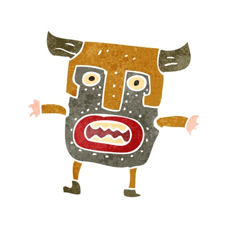 cannibal: retro cartoon man in tribal mask