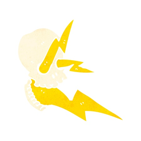 spitting: retro cartoon skull spitting lightning