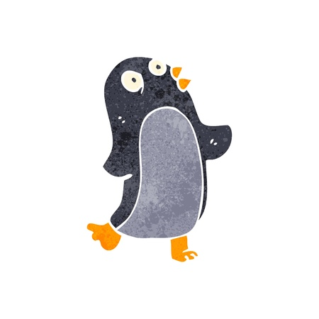 pinguino caricatura: retro dibujos animados de ping�inos Vectores