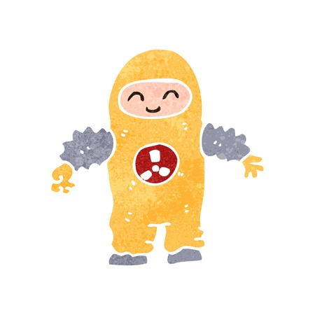 retro cartoon man in protective suit Vector