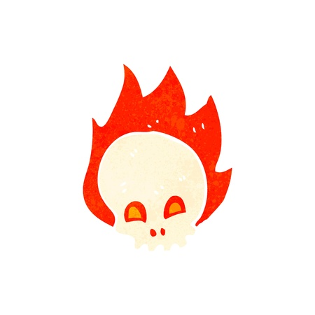 retro cartoon flaming skull Vector
