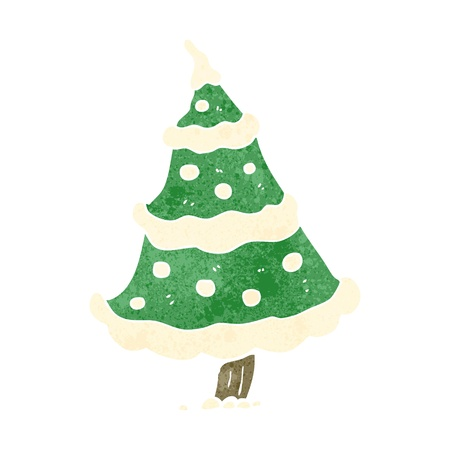 retro cartoon snowy christmas tree Vector
