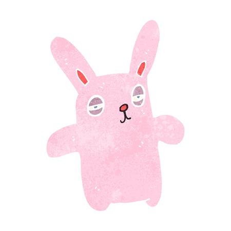 pink rabbit: retro cartoon pink rabbit Illustration