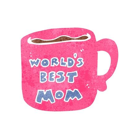 retro cartoon mother's day mug Stock Illustratie