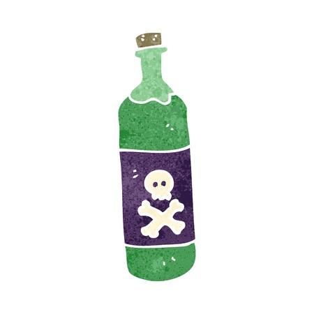 veneno frasco: botella del veneno de dibujos animados retro