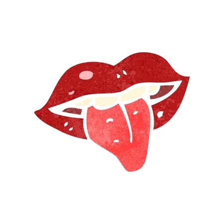 sticking out the tongue: boca retro de dibujos animados con sacar la lengua