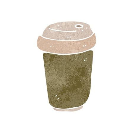 retro cartoon disposable coffee cup Illustration