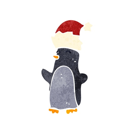 retro cartoon funny christmas penguin Vector
