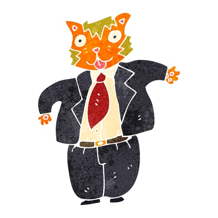 banker: retro cartoon fat cat banker Illustration