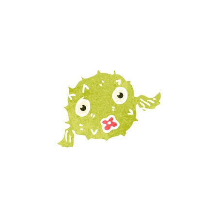 puffer: retro cartoon puffer fish