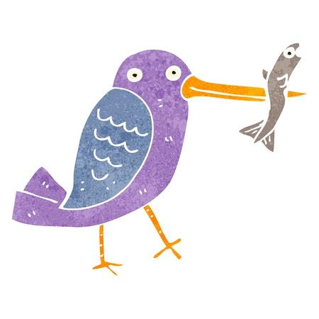cartoon fishing: retro cartoon fishing bird Illustration