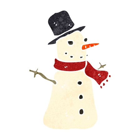 retro cartoon snowman Vector