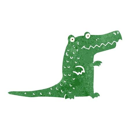 retro cartoon cute crocodile Vector