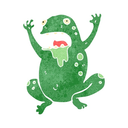 retro cartoon slimy toad Vector